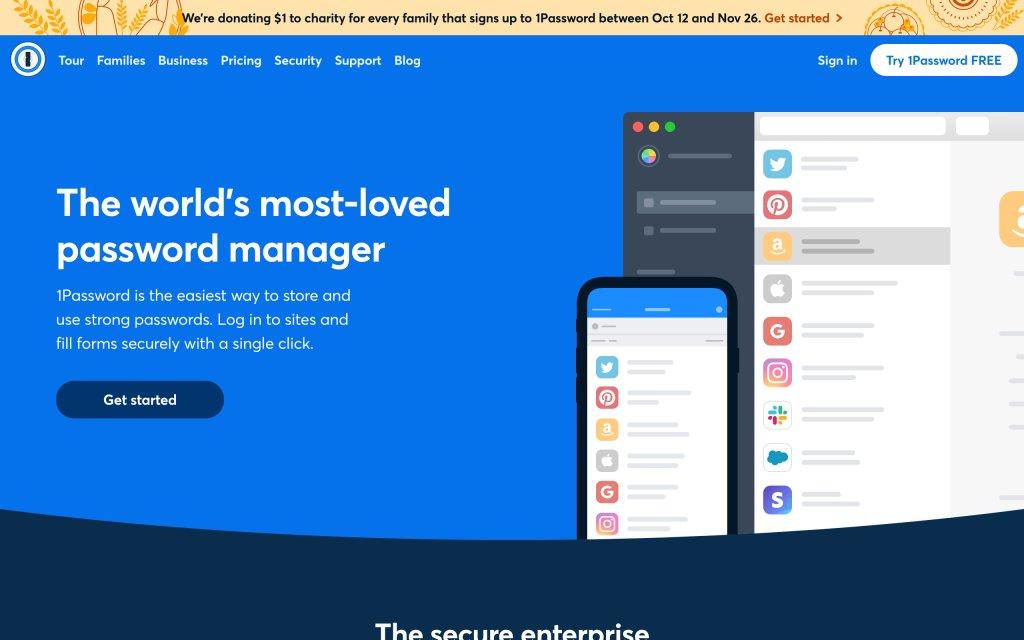 Screenshot of the website 1Password