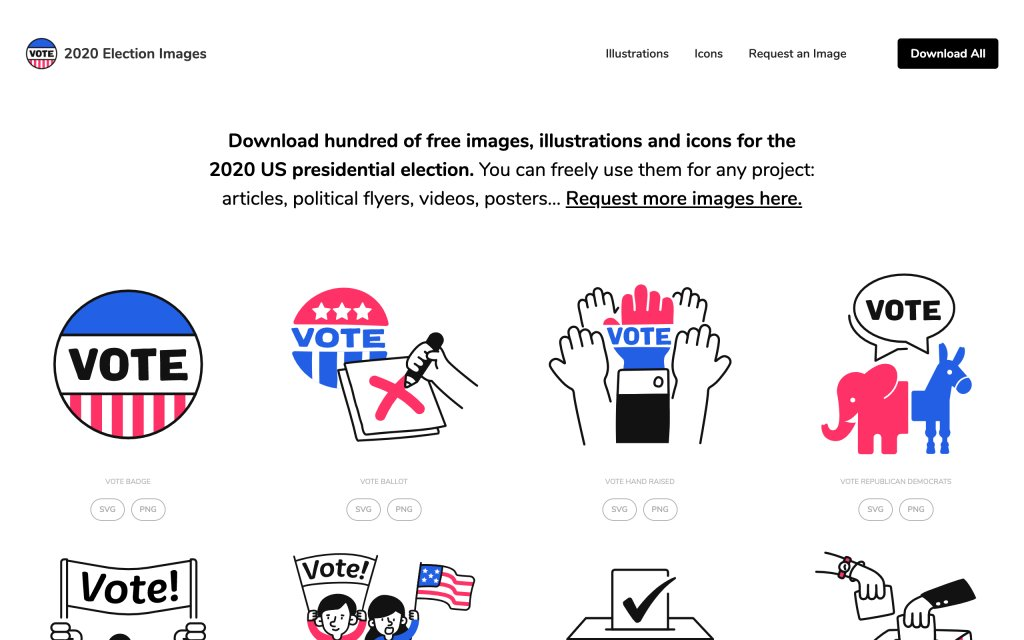 Screenshot of the website 2020 Election Icons