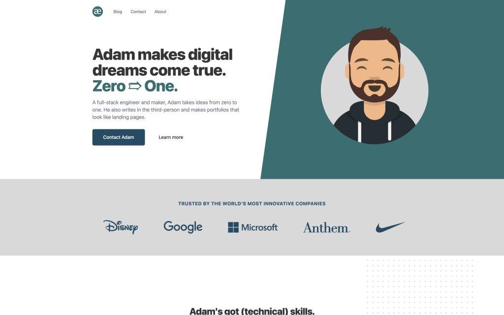 Screenshot of the website Adam Elmore