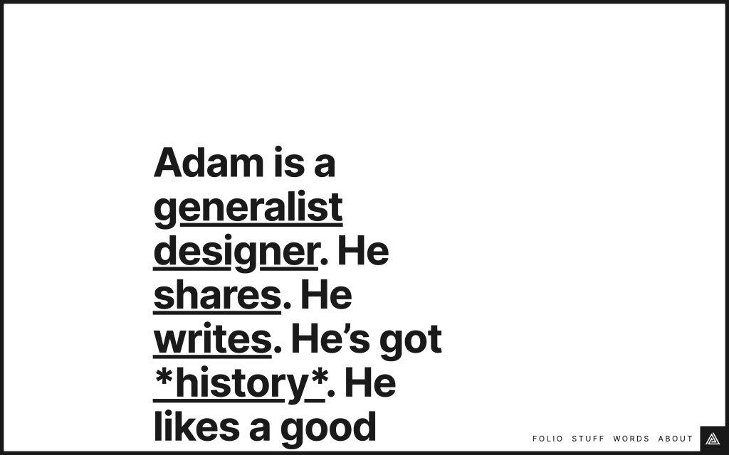 Screenshot of the website Adam Stoddard
