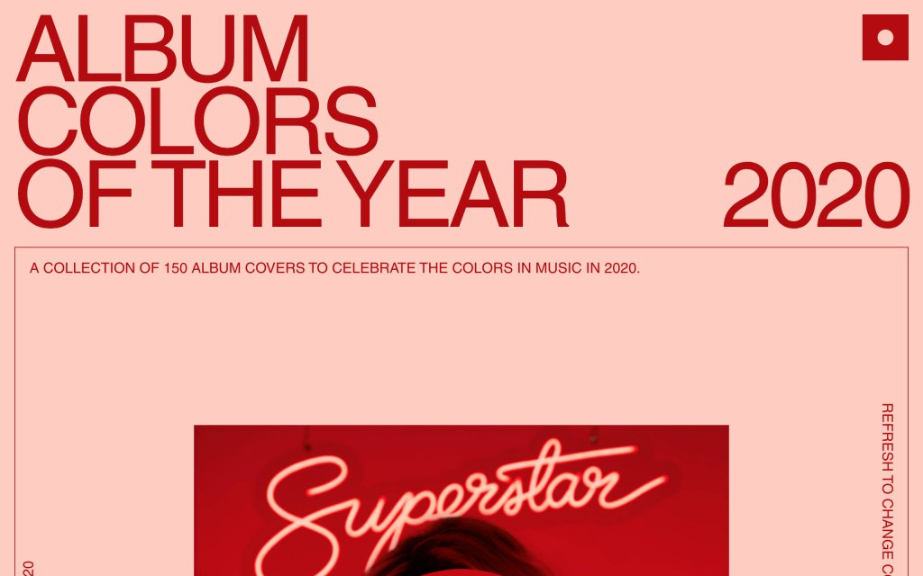Screenshot of the website Album Colors of the Year