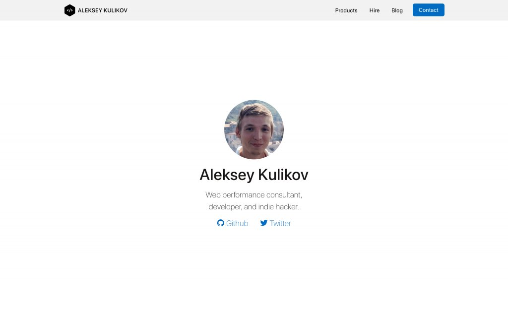 Screenshot of the website Aleksey Kulikov
