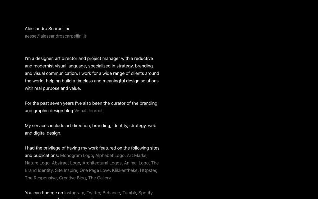 Screenshot of the website Alessandro Scarpellini