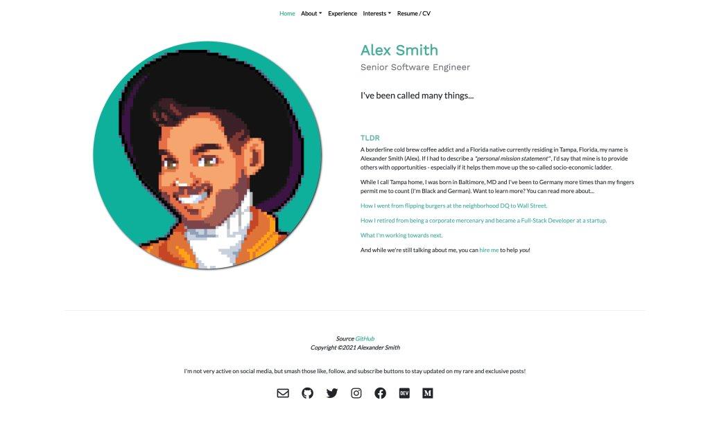 Screenshot of the website Alex Smith