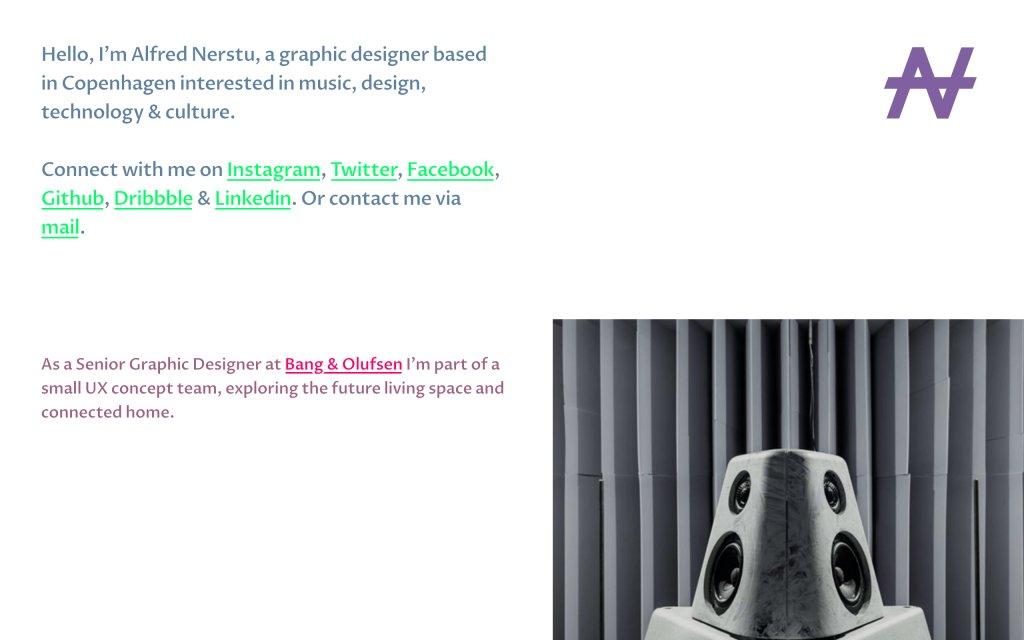 Screenshot of the website Alfred Nerstu