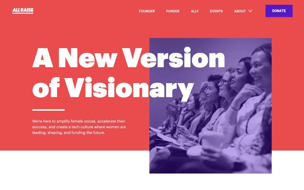 Screenshot of the website All Raise