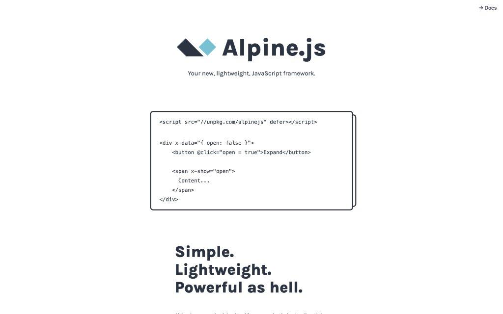 Screenshot of the website Apline.js