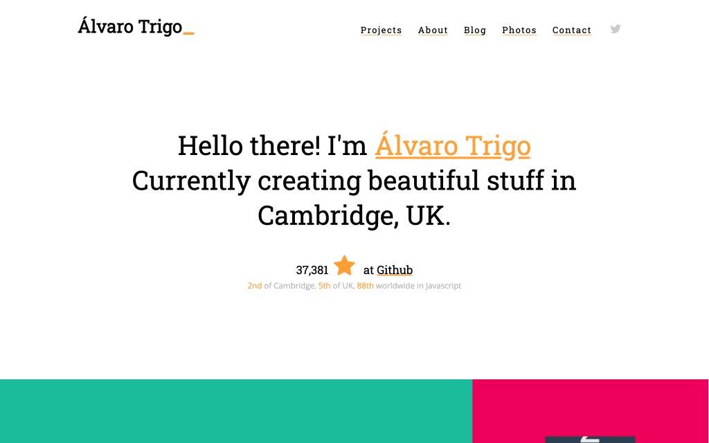 Screenshot of the website Alvaro Trigo