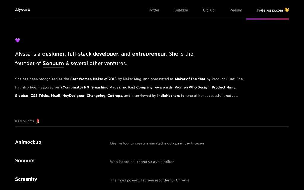 Screenshot of the website Alyssa