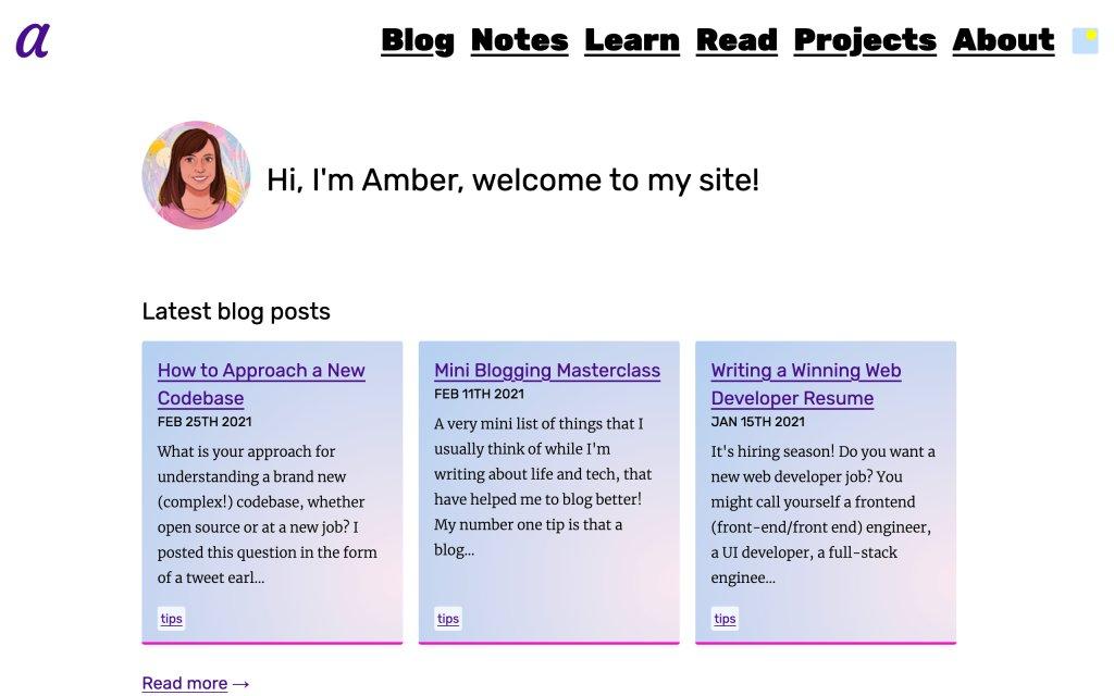 Screenshot of the website Amber Wilson