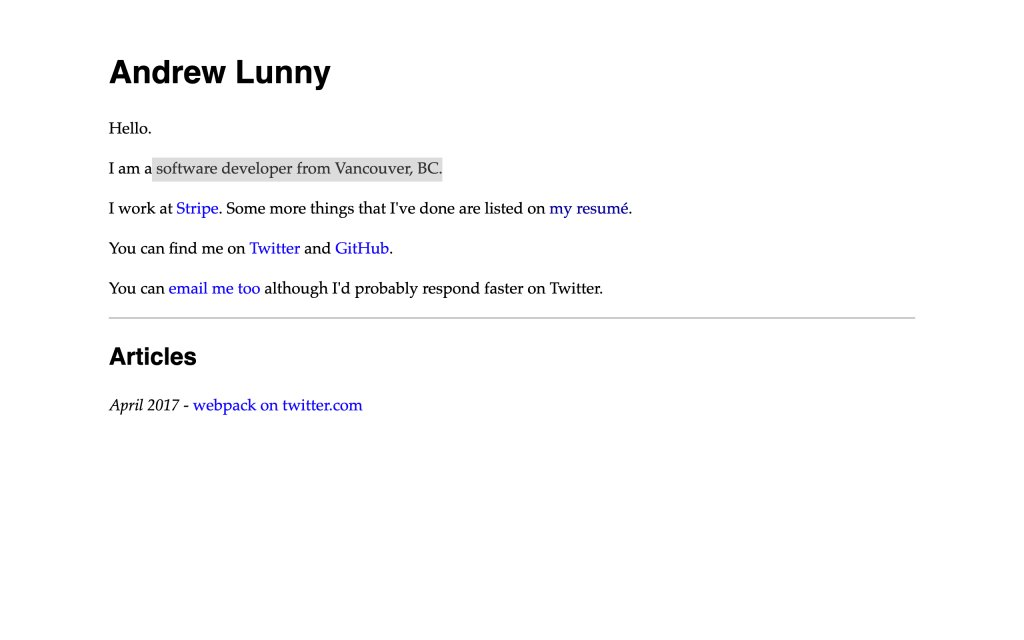 Screenshot of the website Andrew Lunny