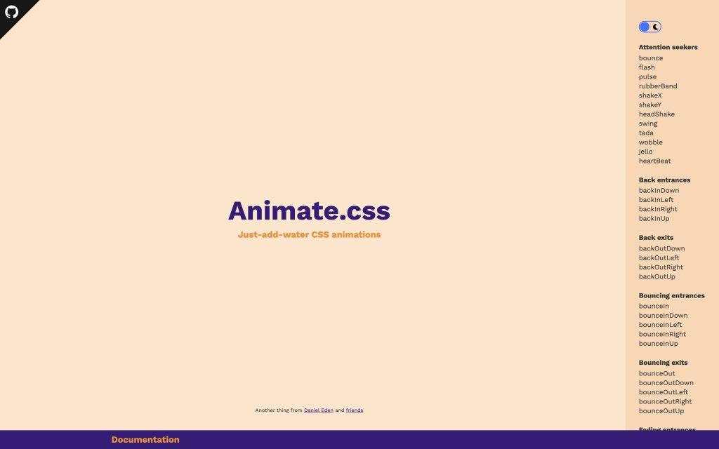 Screenshot of the website Animate.css