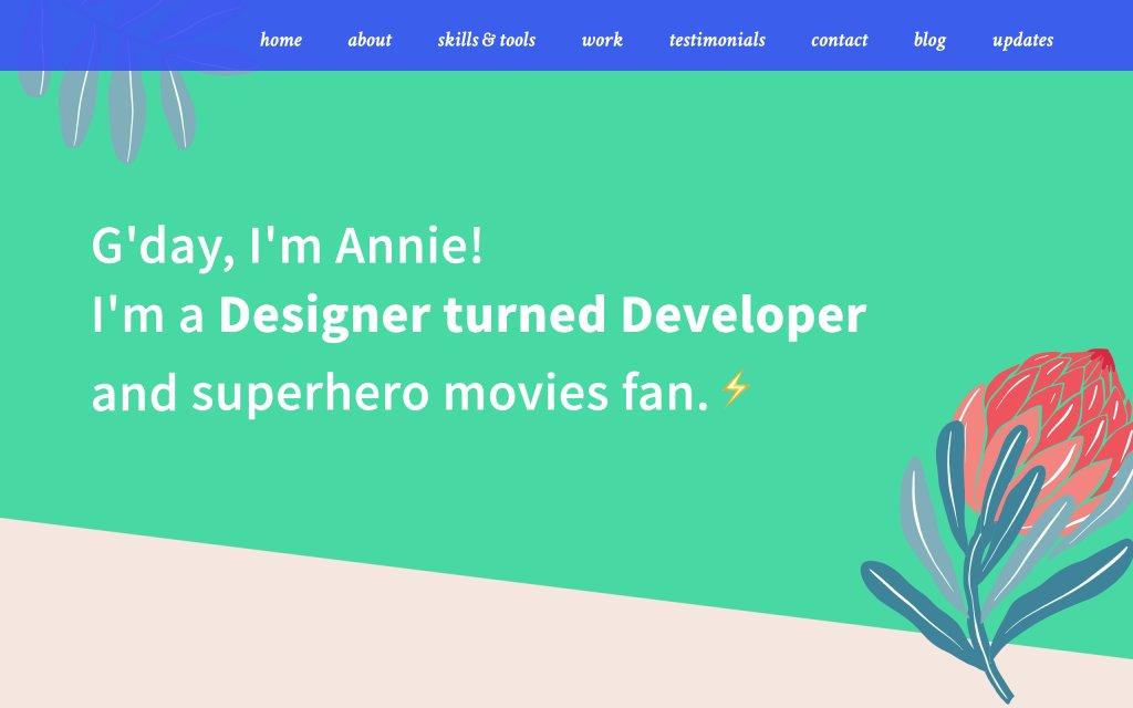 Screenshot of the website Annie Liew