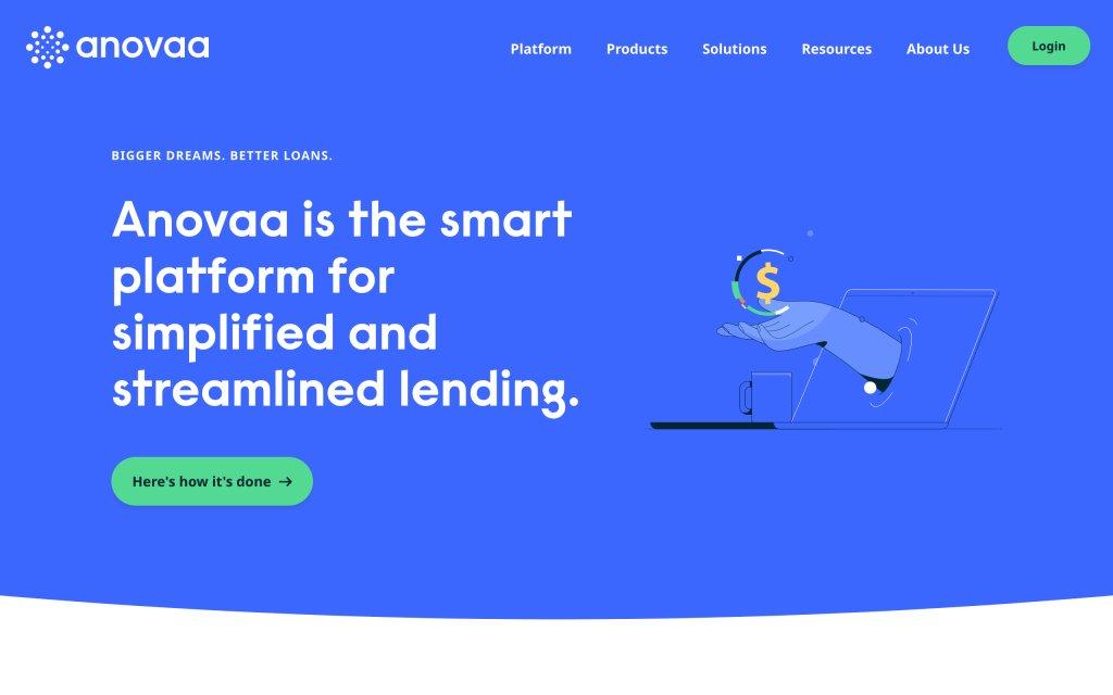 Screenshot of the website Anovaa