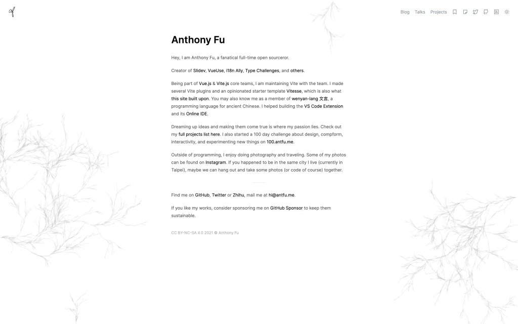 Screenshot of the website Anthony Fu