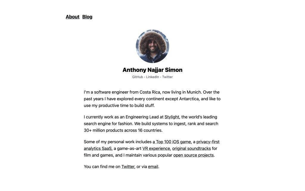 Screenshot of the website Anthony Najjar Simon
