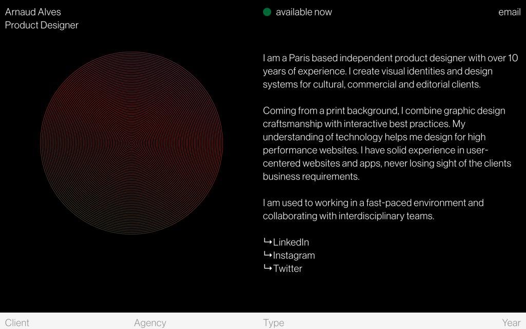 Screenshot of the website Arnaud Alves