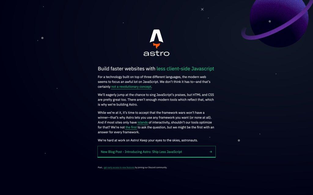Screenshot of the website Astro