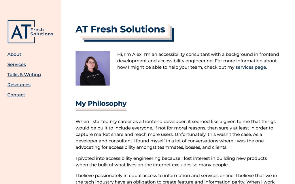 Screenshot of the website AT Fresh Solutions