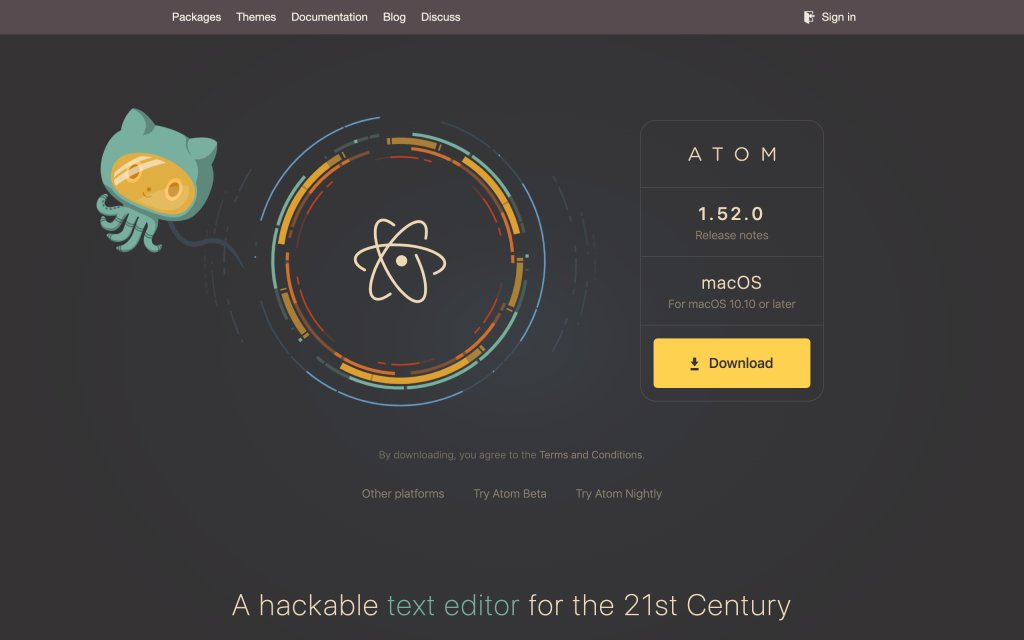 Screenshot of the website Atom