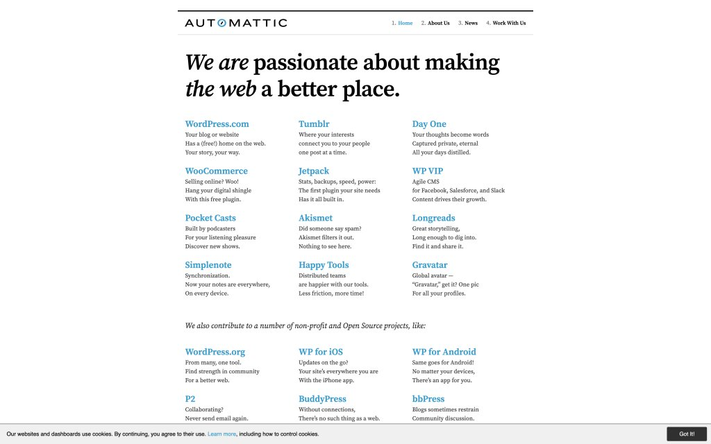 Screenshot of the website Automattic