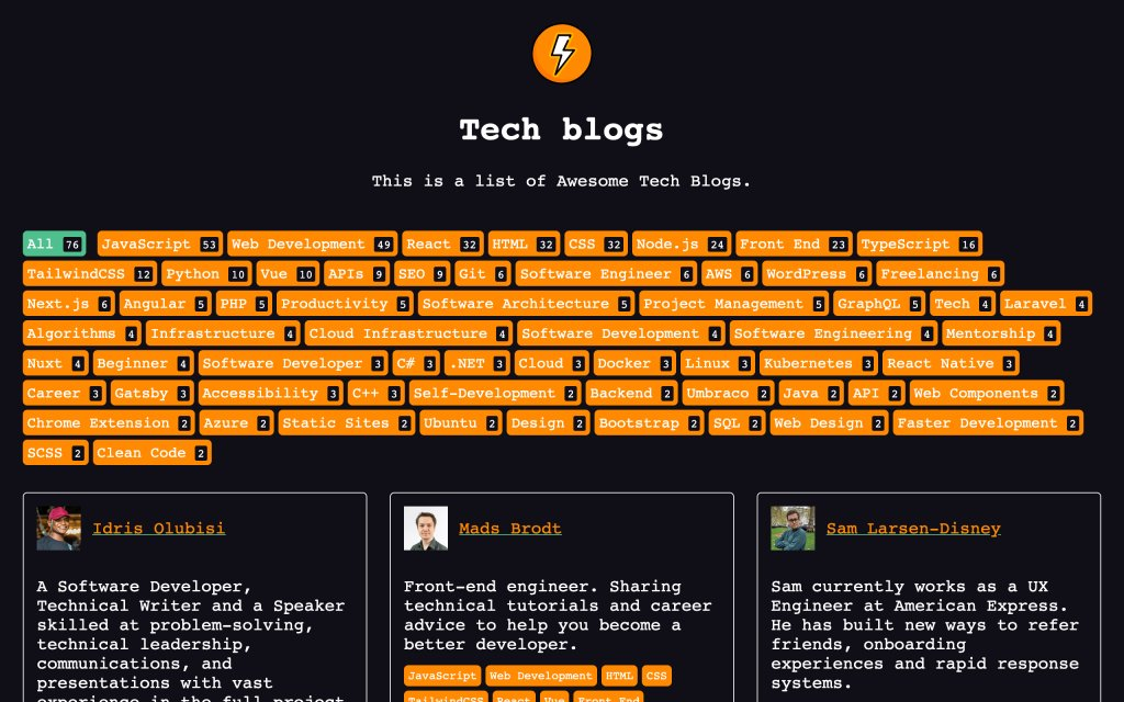 Screenshot of the website Awesome Tech Blogs