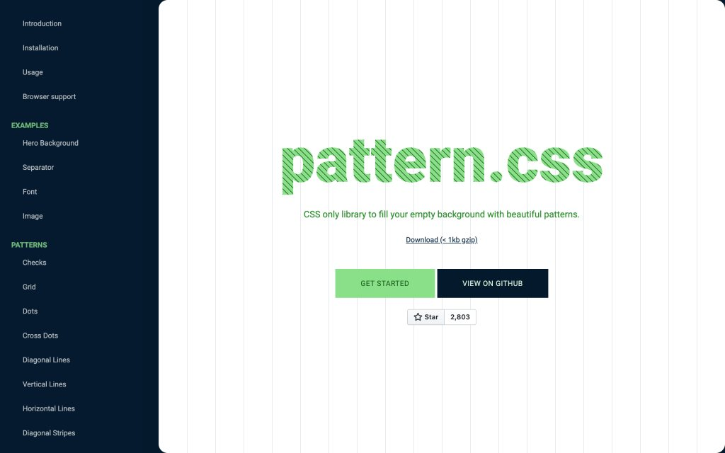 Screenshot of the website Background Patterns in CSS