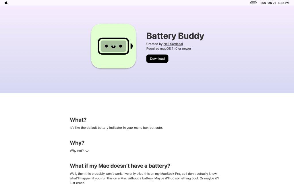 Screenshot of the website Battery Buddy
