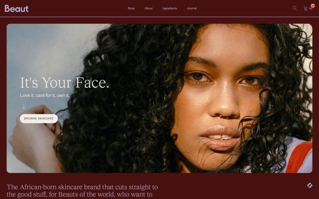 Screenshot of the website Beaut Serums