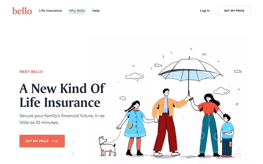 Screenshot of the website Bello Insurance