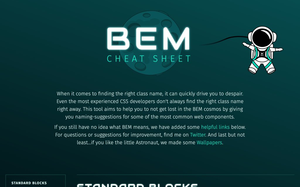 Screenshot of the website BEM naming cheat sheet