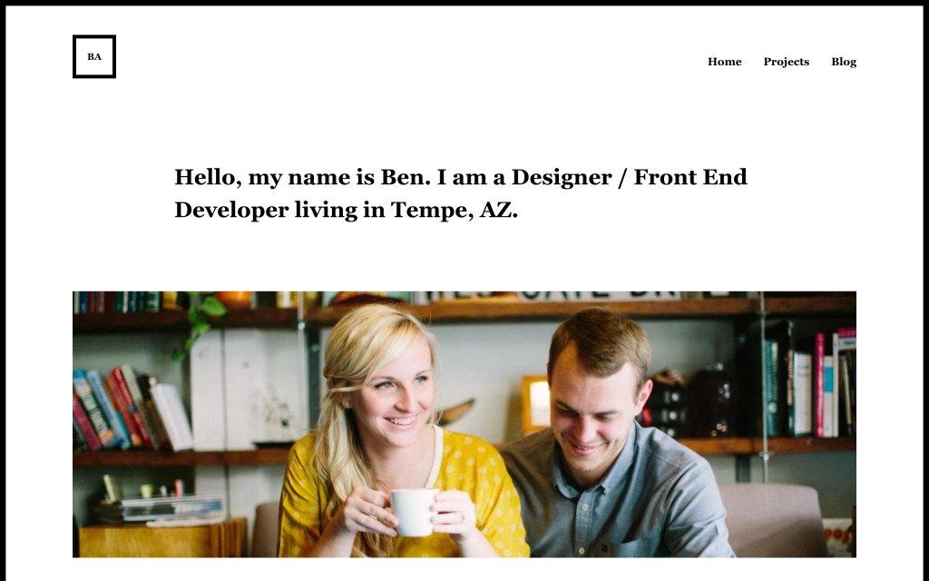 Screenshot of the website Ben Adam