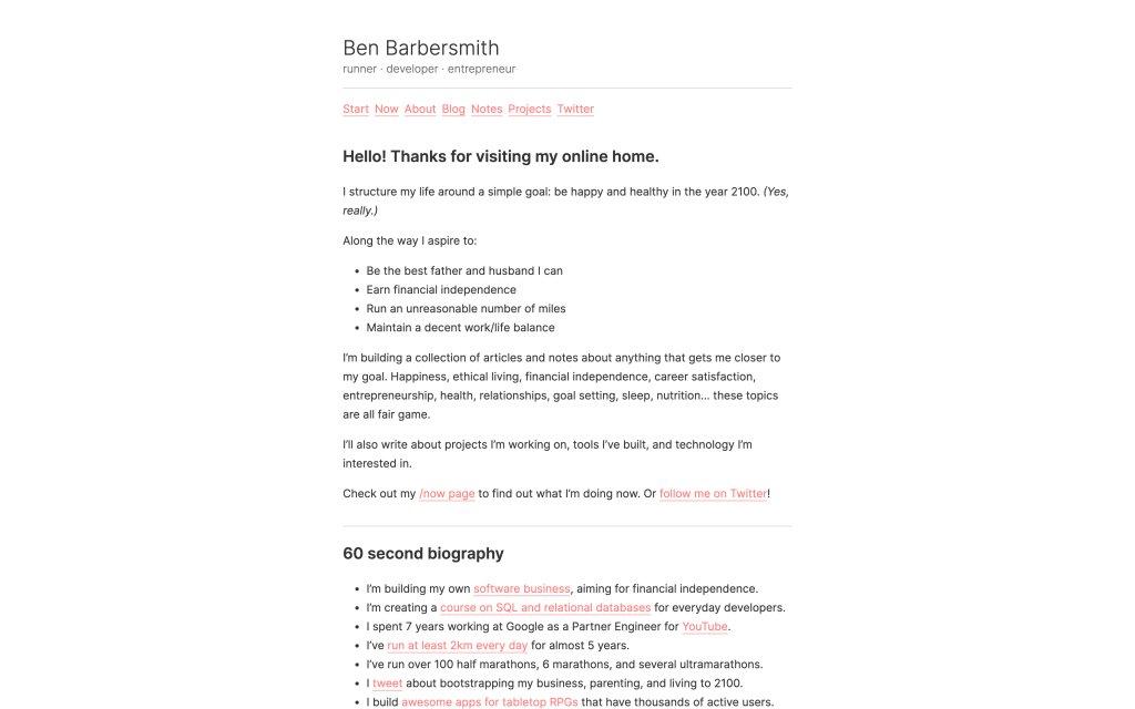 Screenshot of the website Ben Barbersmith