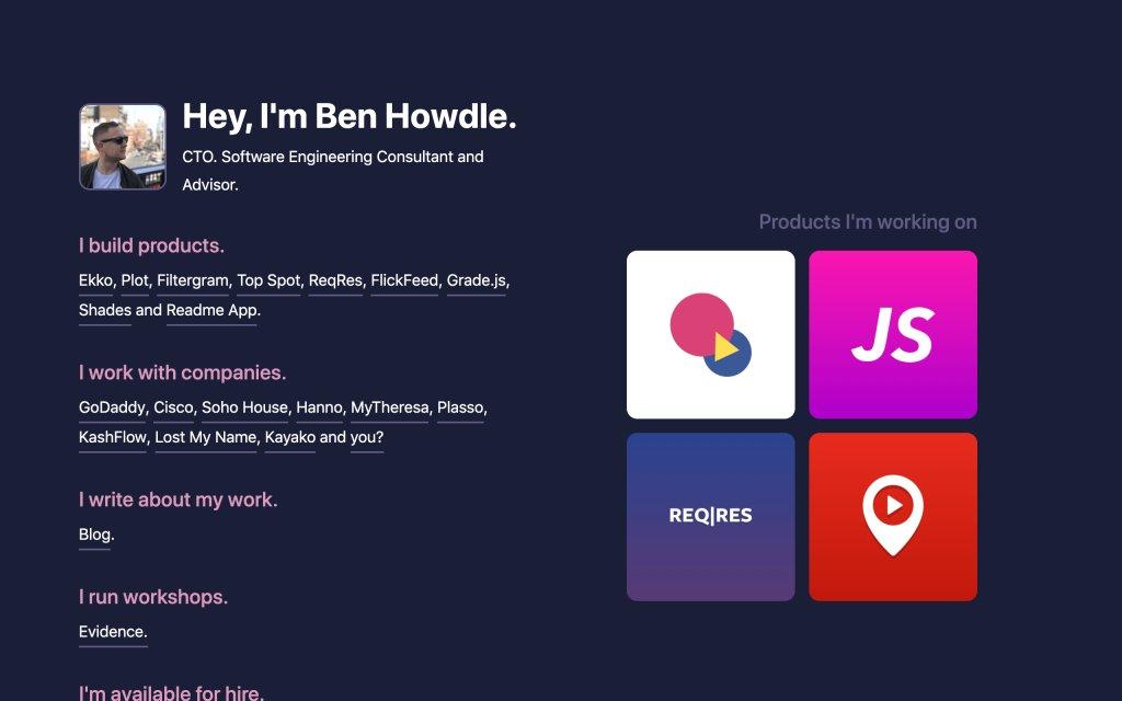 Screenshot of the website Ben Howdle