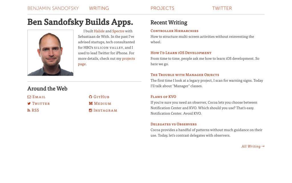 Screenshot of the website Benjamin Sandofsky