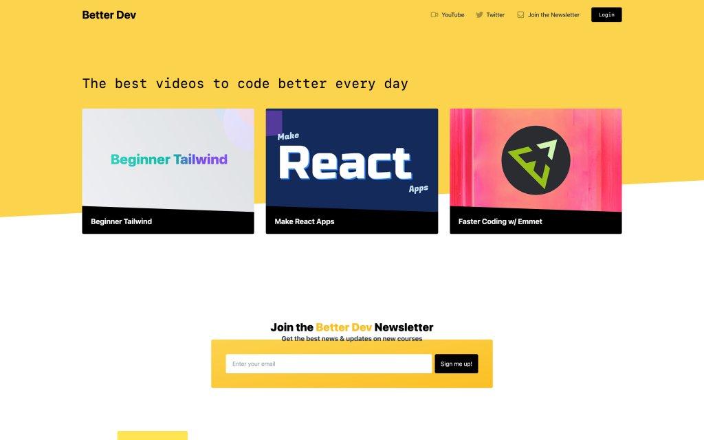 Screenshot of the website Better Dev