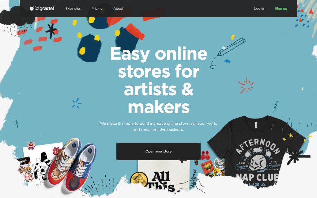 Screenshot of the website Big Cartel