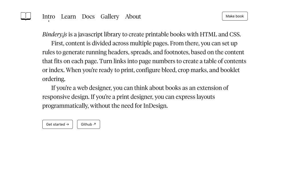 Screenshot of the website Bindery.js