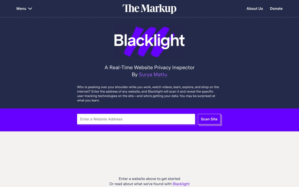 Screenshot of the website Blacklight