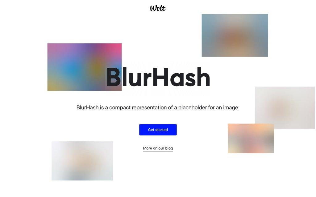 Screenshot of the website BlurHash