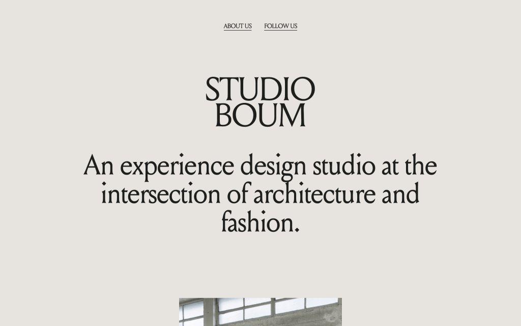 Screenshot of the website BOUM