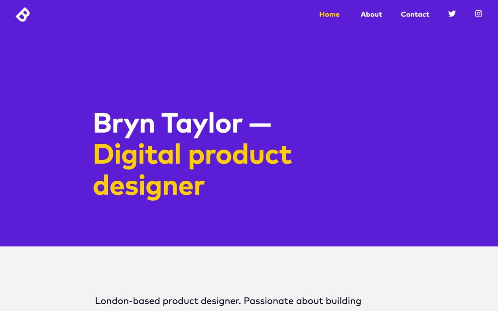 Screenshot of the website Bryn Taylor