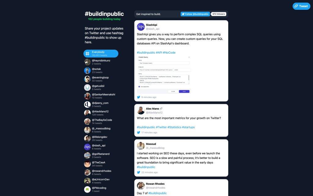 Screenshot of the website #buildinpublic