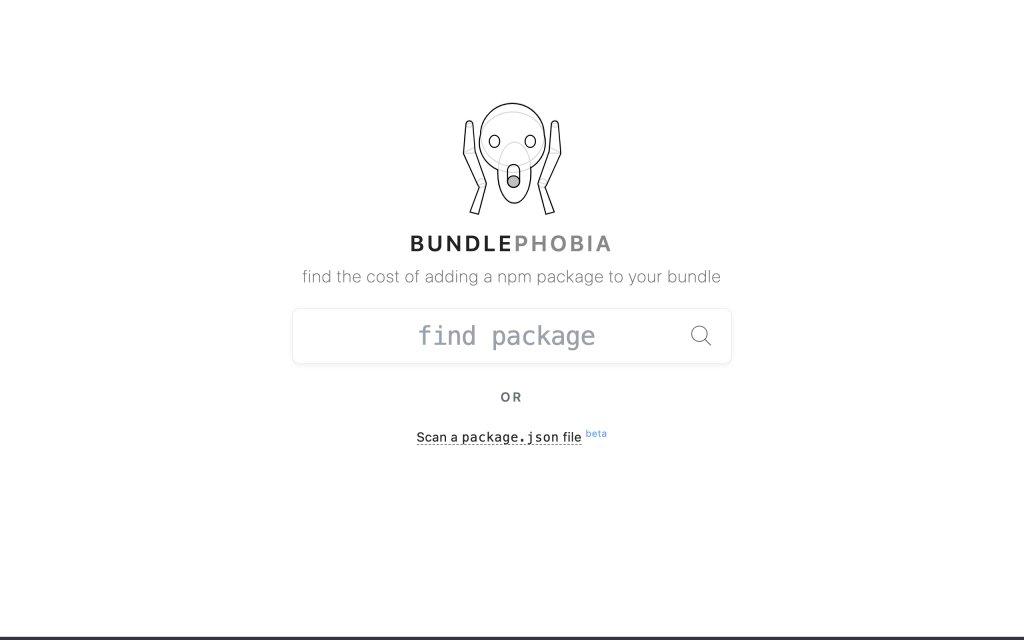 Screenshot of the website Bundlephobia