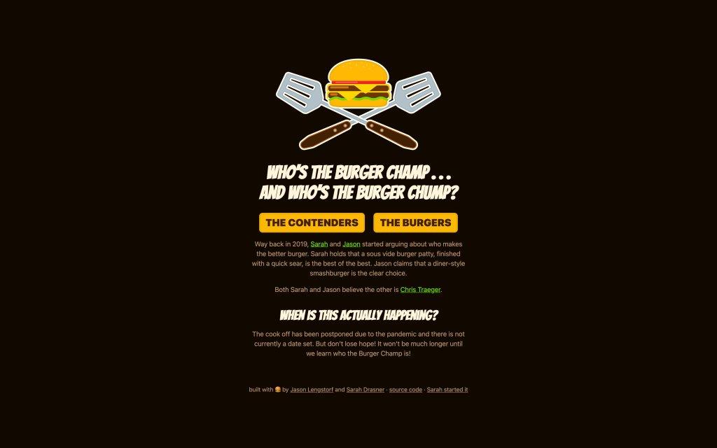 Screenshot of the website Burger Showdown