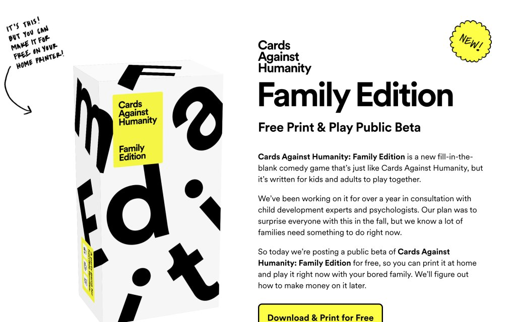 Screenshot of the website Cards Against Humanity Family Edition