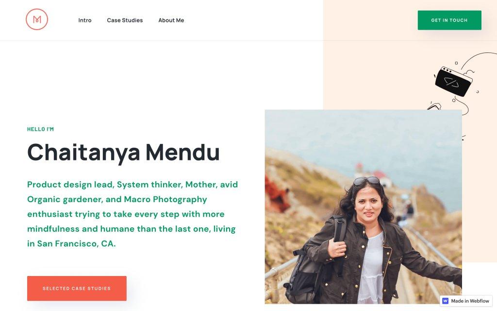 Screenshot of the website Chaitanya Mendu