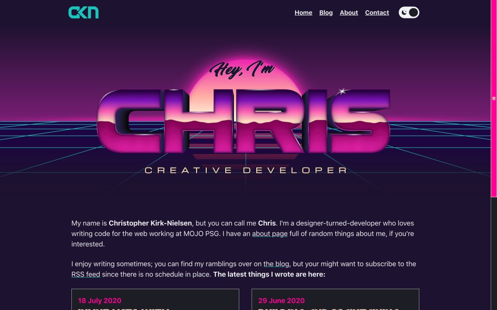 Screenshot of the website Chris Kirknielsen