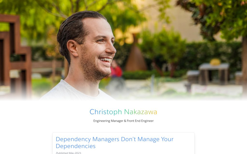 Screenshot of the website Christoph Nakazawa