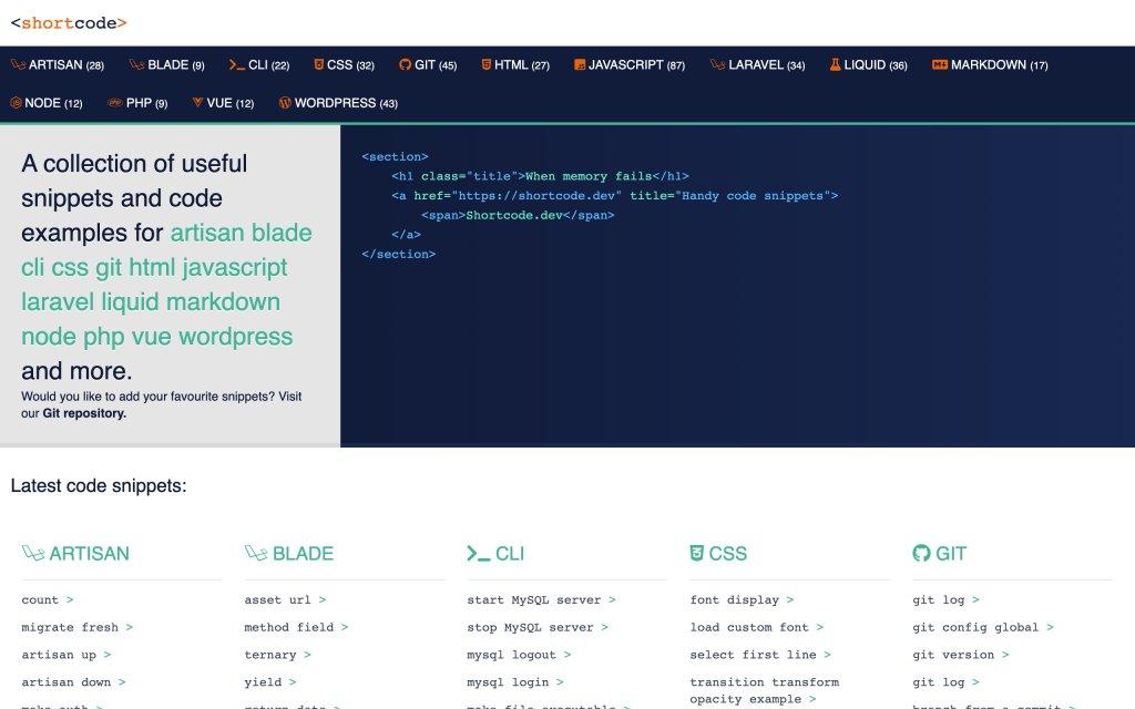 Screenshot of the website Code cheatsheets